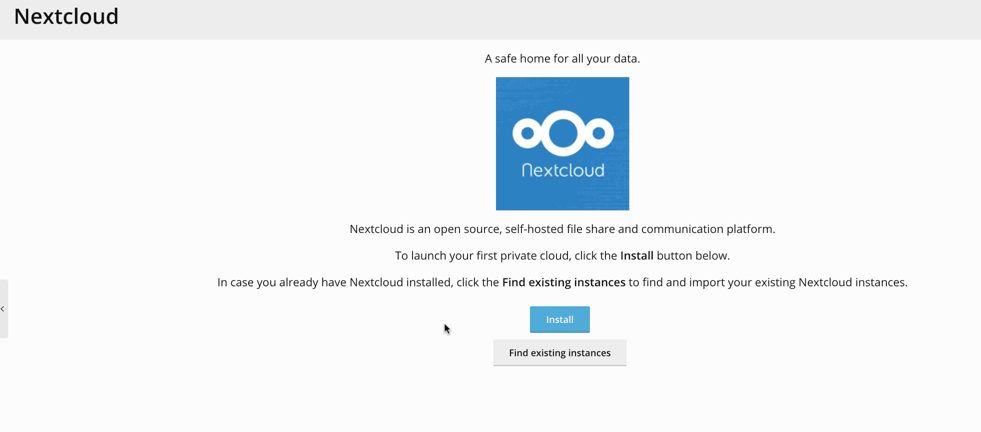 nextcloud install button