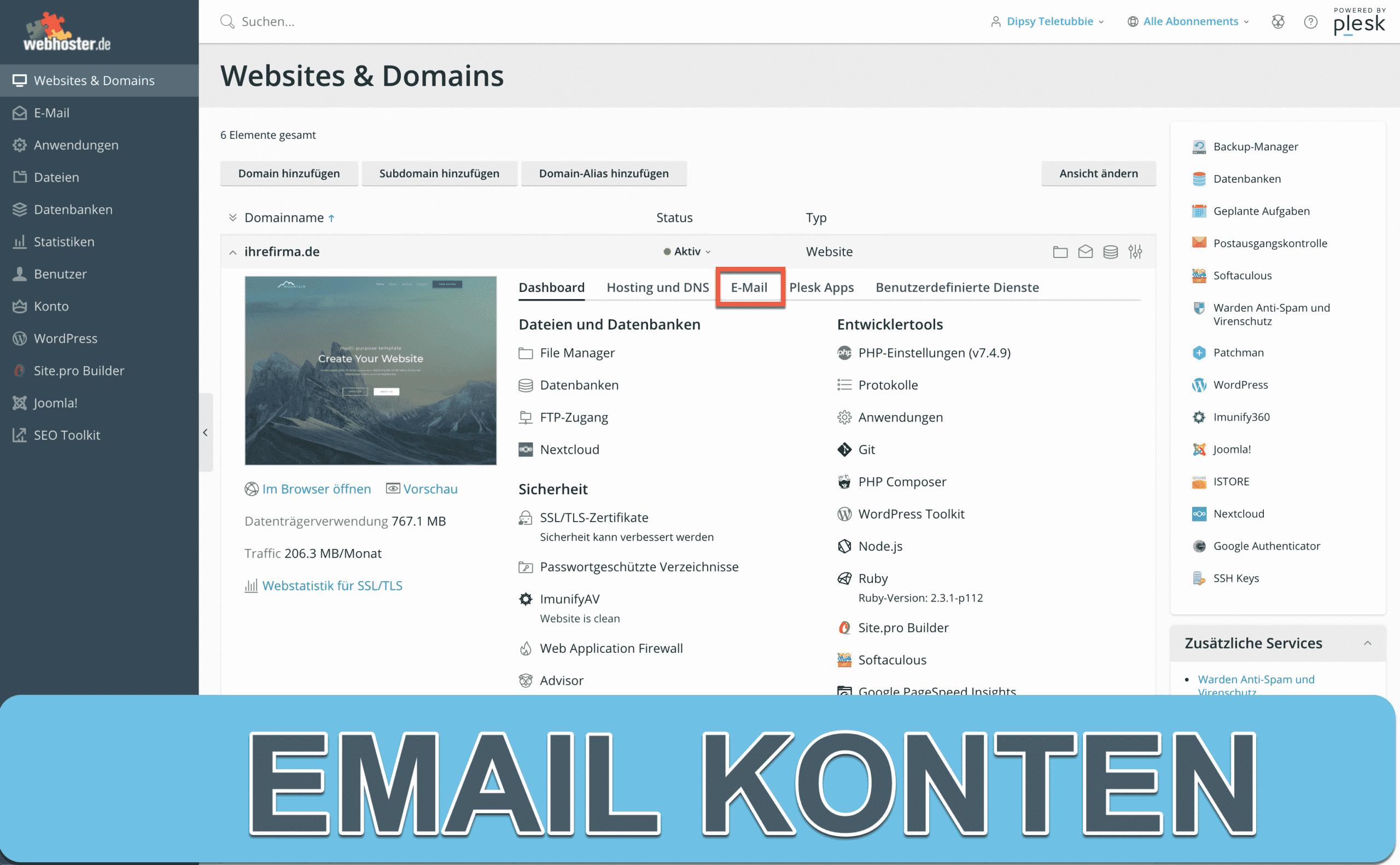 email konten anlegen