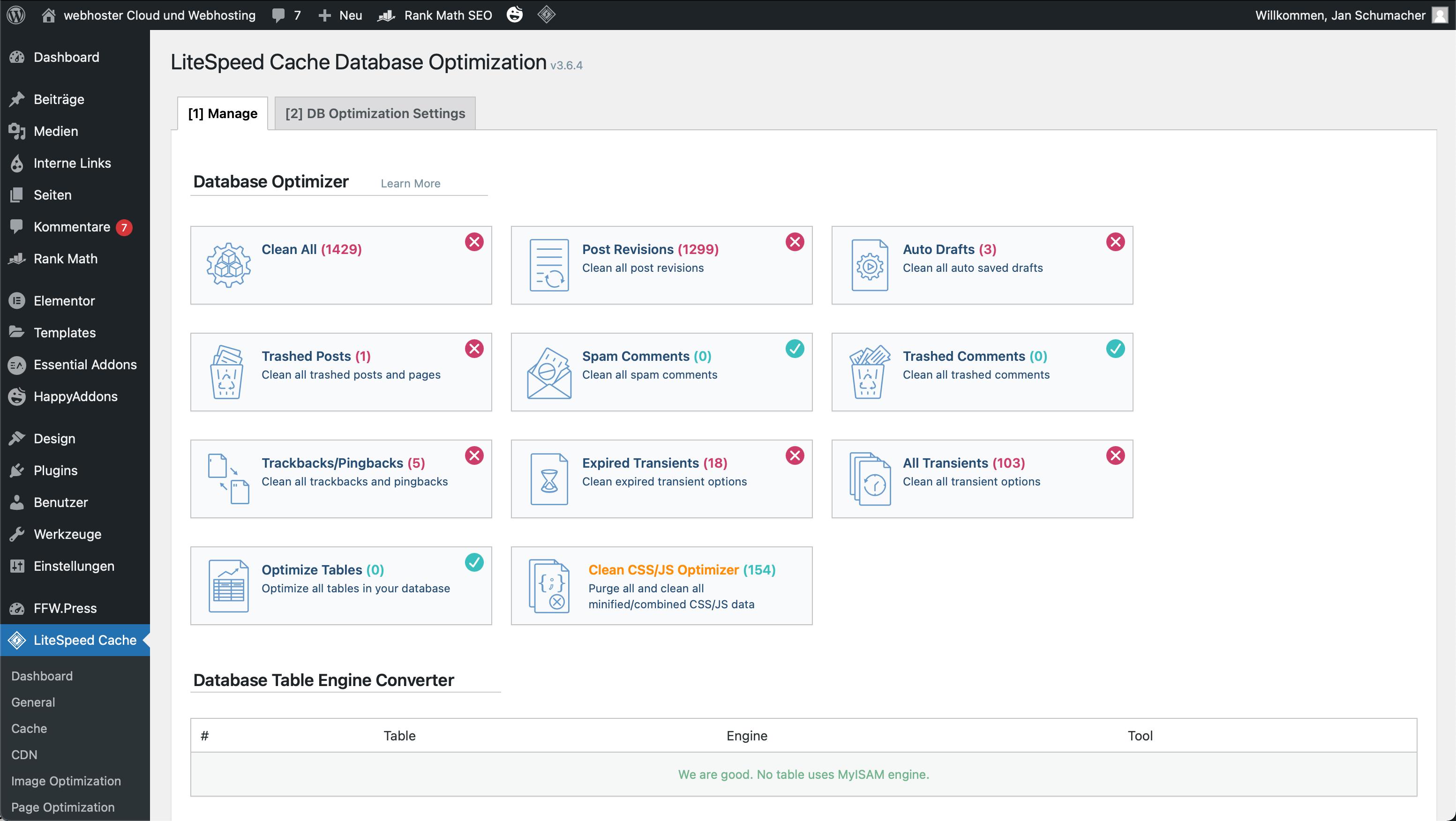 DB Optimierung mit LiteSpeed