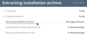 nextcloud install fortschritt