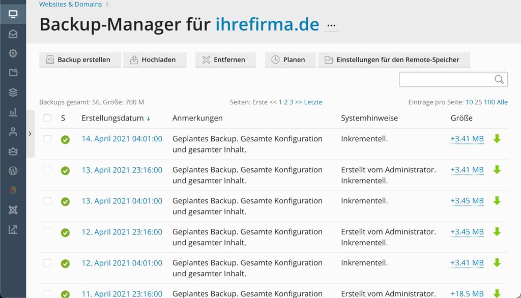 Plesk Backup Manager Übersicht