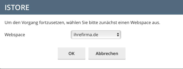 spamexperts Domain-Auswahlfenster