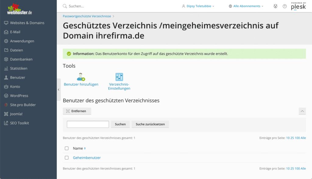 plesk passwortschutz demo 7
