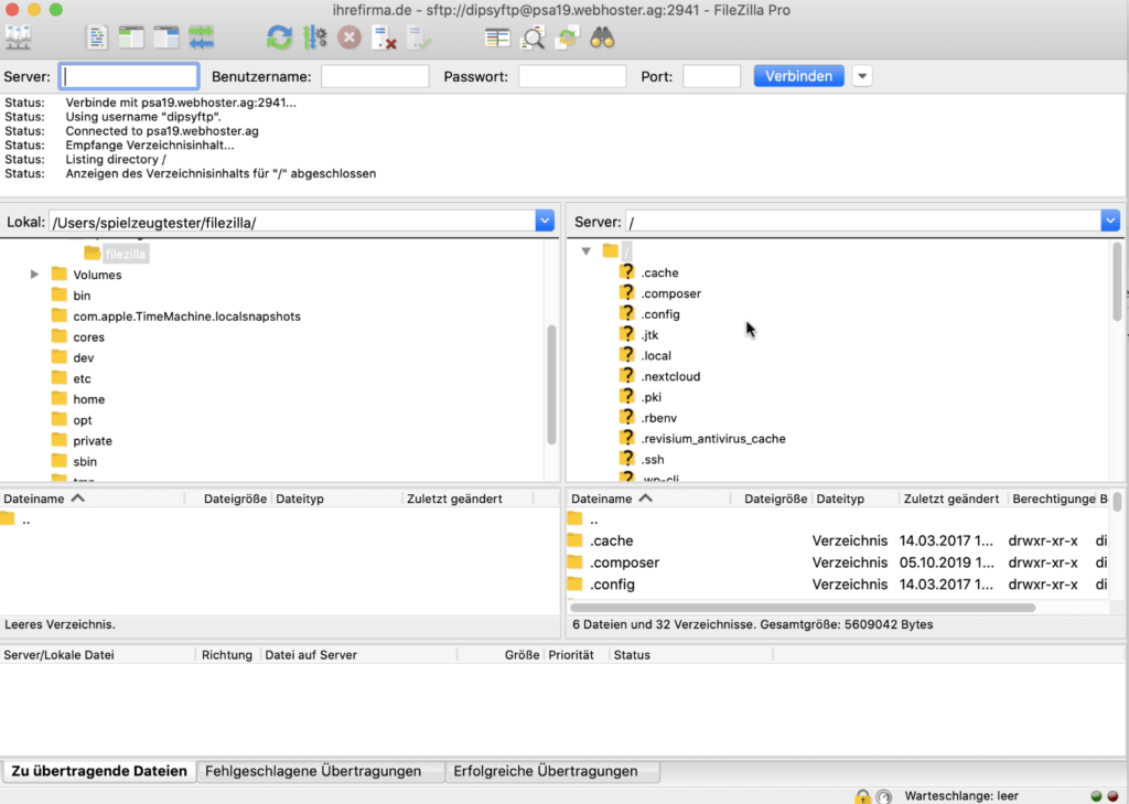 SFTP Filezilla Dateien anzeigen