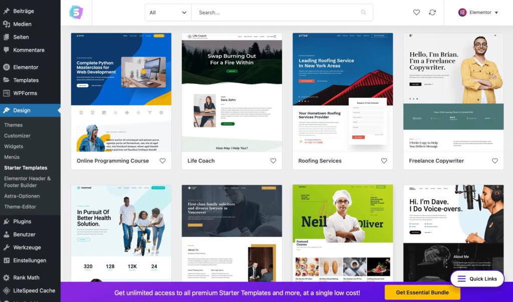 Starter Templates für WordPress